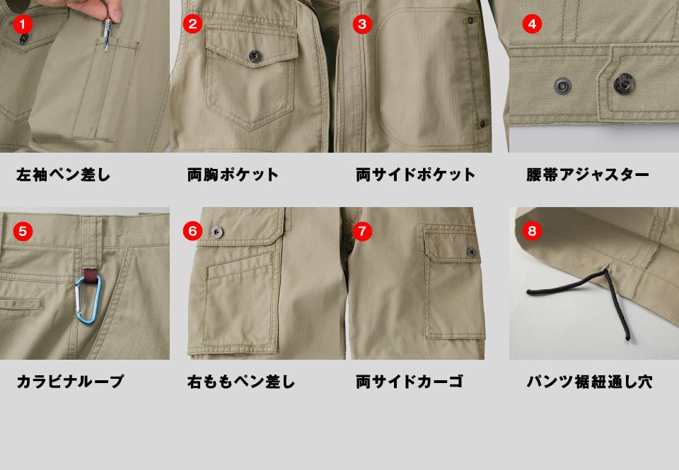 左袖ペン差し、両胸ポケット、両サイドポケット、携帯アジャスター、カラビナループ、右ももペン差し、両サイドカーゴ、パンツ裾紐通し穴